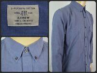 J.CREW Blue Btn Front L/S Modern 2 Ply Dress Shirt For Work Mens Lg 16 16.5