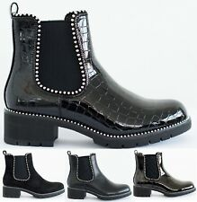 WOMENS LOW BLOCK HEEL ANKLE CHUNKY SOLE LADIES FLAT CHELSEA STUDDED SHOES BOOTS