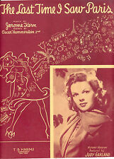 "JUDY GARLAND Sheet Music ""The Last Time I Saw Paris"" 1940"