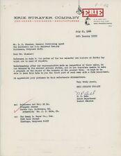 1966 Erie Strayer Co. Letterhead Shovel Buckets Steamshovel Ore Unloader