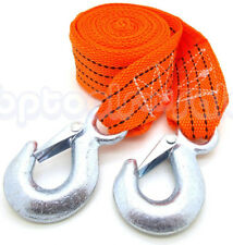 """2"""" x 12 Feet Fluorescent Nylon Web Tow Strap Rope 2 Hooks 6,000 lbs Towing Strap"""