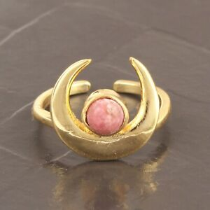 Half Moon Pink Opal Yellow Gold Plated Charming Adjustable Ring For Her