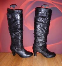 *61* RAVEL BLACK LEATHER SLOUCH HEEL BOOTS   EU 38