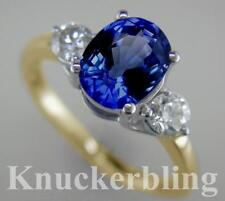 Blue Sapphire & F VS Diamond Ring 2.55ct in 18ct Yellow Gold Engagement 3-Stone