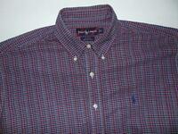Ralph Lauren Blake Plaid Long Sleeve Button Front Pony Logo Shirt Men's Large