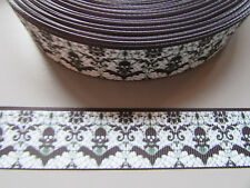 Skull & Bat Grosgrain Ribbon 2.5cm  x 1 Metre Sewing/Crafts/Cake