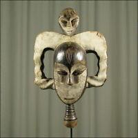 59014) Afrikanische Kwele Holz Maske Gabun Afrika KUNST