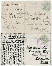 More details for 1909/10 fine violet rubber pmks dewlish & long bredy dorchester dorset on 2 ppcs