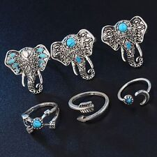 Fashion Women 6PCS Turquoise Elephant Boho Beach Midi Knuckle Rings Set Jewelry