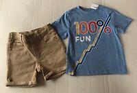 Gymboree Boys Blue Tee Khaki Shorts Size 18-24 Months