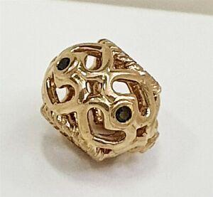 Authentic Pandora 14k Gold Black Diamond Heart Charm Design 750466DB