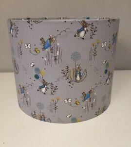Handmade Lampshade in Beatrix Potter, Grey Peter Rabbit Fabric, Various sizes