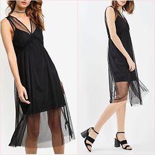 SALE Topshop TALL Black Mesh Tutu Midi Flowy Dress Size 10 UK US 6 ❤
