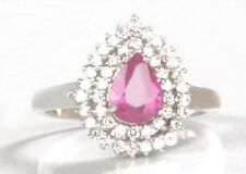 925 Sterling Silver 1.75 Carat Natural Pink Tourmaline Pear Cut Engagement Ring