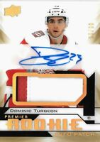 """2018-19-PREMIER """"GOLD"""" ROOKIE-DOMINIC TURGEON  R.C. AUTO PATCH SP #/99 RED WINGS"""