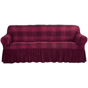 1/2/3/4 Seater Stretch Sofa Slipcover Couch 3D Bubble Lattice Skirt Sofa Cover