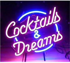 Cocktails and Dreams Glass Neon Signs Beer Bar Club Bedroom Glass Neon Lights Si