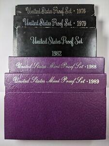 1976,79,82,88,89 S Lot of 5 U.S. Proof Sets  186935R