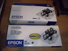 (2) Genuine Epson T032120 Black Ink Cartridge 2-TWIN Packs NEW Exp 2009/2012