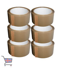 6 X BIG ROLLS OF BROWN STRONG ADHESIVE PACKAGING PARCEL SEALING TAPE 48mm  66m