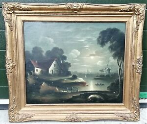 Quality Antique c19th Oil Painting Figures Rowing in Moonlight, SEBASTIAN PETHER