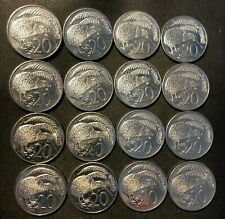 New listing Old New Zealand Coin Lot - 20 Cents - Kiwi- 16 Large Type Uncommon - Lot #N17