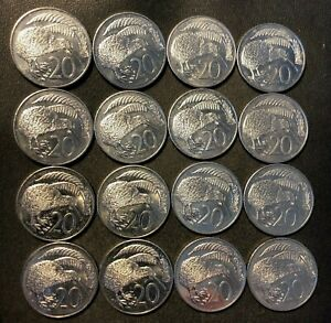 Old New Zealand Coin Lot - 20 CENTS - KIWI - 16 Large Type Uncommon - Lot #L20