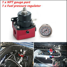 Adjustable Fuel Pressure Regulator + 160psi NPT Gauge AN 6 Fitting End Universal