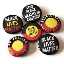 Black Lives Matter Pin Badges Set 6 x 25mm Aboriginal BLM Protest Buttons