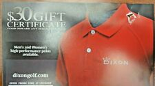 Dixon Golf $30 Online Certificate Gift Card Coupon for Dixon Golf Polo~Fast Ship