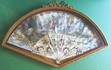 Antique Hand Painted Fan Carved MOP Framed Roman Empire Figures Cherub Gold Ruby