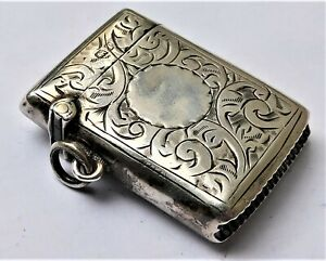 NO RESERVE HM1914 Silver Vesta Case Match Safe Vintage Antique