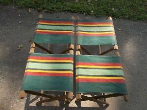 RARE Matching Set of 4 Vintage Camping Fishing Folding Stool Canvas Lodge Cabin