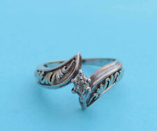 Genuine Marquise Diamond Solitaire Ring w/ Decorative Band - 10K White Gold