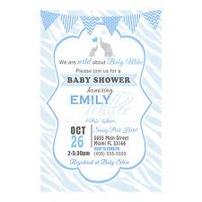 30 invitations elephant boy baby shower sprinkle  blue zebra animal print custom