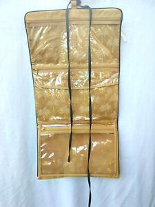 Celebrity Tri-Fold Make up , Jewelry Multi- Organizer Travel Bag XL Gold & Black