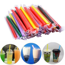 100Pcs Extra Wide Boba Bubble Tea Fat Drinking Straws Individually wrapped Color