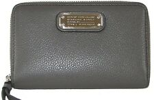 MARC JACOBS Faded Aluminum Leather Zip-Around Clutch NWT