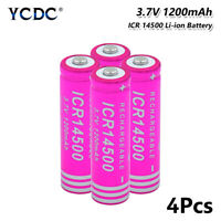 14500 Li-ion Battery 1200mAh 3.7V Rechargeable For Flashlight Torch Toy 4Pcs BC
