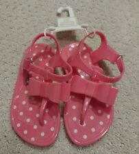 NWT Girls Baby Gap Coral Polka Dot Bow T-Strap Jelly Sandals Size 7