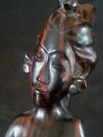 Vintage Bali hard wood carved statue 11.5 inches