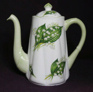 Shelley LOTV Dainty Lily of the Valley COFFEE POT 13822 curved spout 2-2.5 cup