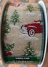 """Kirkland Wire-Edged Red Truck Christmas Ribbon 2.5"""" x 50 yds New Sealed Roll"""