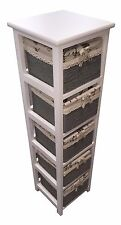 Slim White Wood 5 Drawer Maize Basket Storage Cabinet Organiser For Bathroom