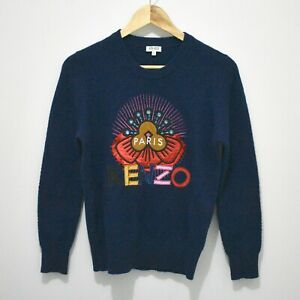 Kenzo Authentic Navy Wool Tanami Flower Jumper Size S