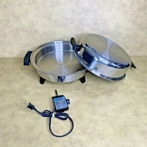 "TOWNECRAFT CHEF'S WARE Liquid Core 12"" Electric Skillet w/Original Dome Lid USA"