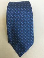 Recent Kiton Napoli Blue Geometric Patterned Silk Tie Made in Italy