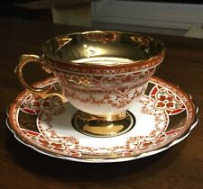 ROSINA Tea Cup and Saucer Bone china Heavy gold Rim Red  Queen's Pottery Elegant