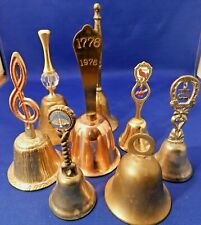 Lot of 8 Vintage Brass-Copper-Silver Plated Handheld Small Bells