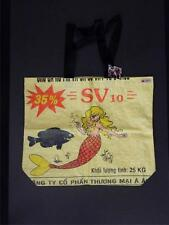Blonde Mermaid Recycled Feed Bag Lg Yellow Tote Made in Cambodia Wfto Fair Trade